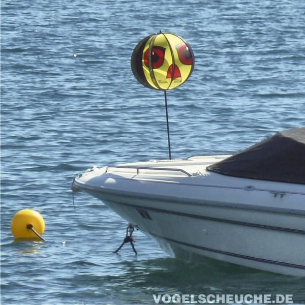 Erfolgreiche Möwenabwehr auf Sportboot Persenning.