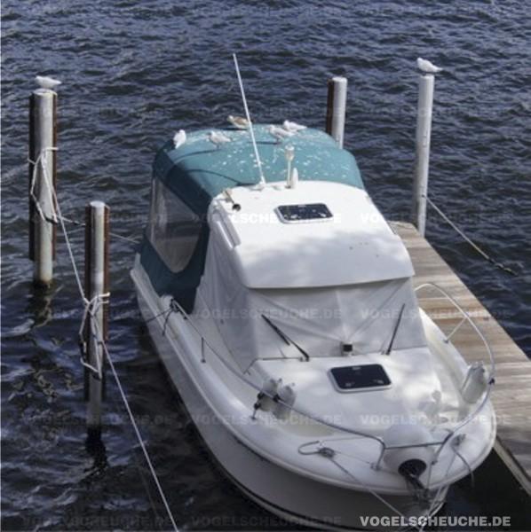 Vogelscheuch BALLON zur Möwenabwehr auf Boot Persenning.